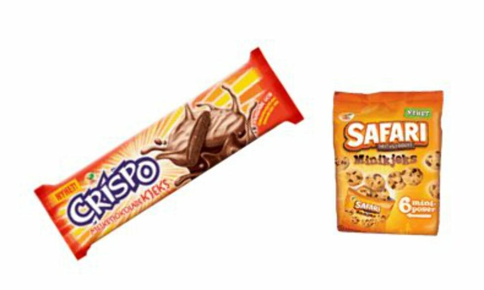 Kjeksnytt: Safari minikjeks i seks porsjonsposer og sjokoladekjenningen Crispo, nå som Crispokjeks. Foto: ORKLA