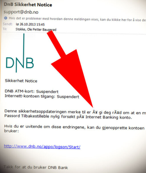 VANSKELIGE BOKSTAVER: I tillegg til generelt dårlig språk, får svindlerne ofte problemer med norske bokstaver. Her har alle å-er blitt rare tegn.  Foto: OLE PETTER BAUGERØD STOKKE