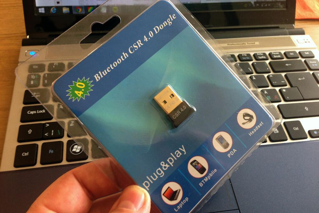 Med denne lille dingsen kan du koble PC-en til TV-er og musikkanlegg som er Bluetooth-kompatible. Deretter er det bare å spille av favorittmusikken din, for eksempel fra Spotify og Wimp. Foto: Bjørn Eirik Loftås