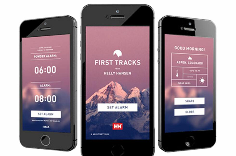 PUDDERALARM: Helly Hansens app First Tracks hjelper deg til å komme deg først til pudderføret.  Foto: HELLYHANSEN.COM