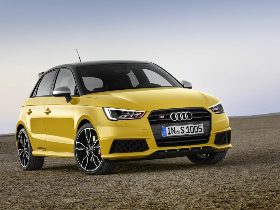 RÅTASS: Dette er nye Audi S1 Sportback. Fargen heter Vegas-gul. Foto: AUDI