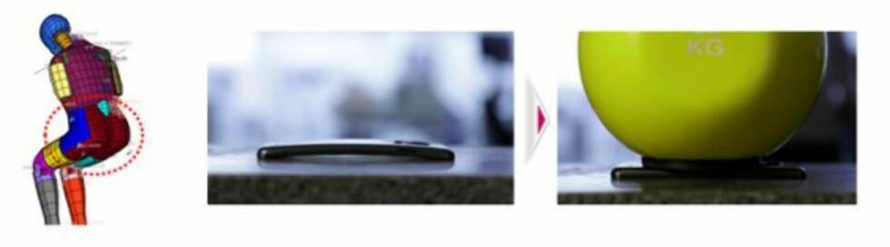 I LG sin presentasjon av mobilen kommer et tydelig fram at den skal tåle å ligge i baklommen, og bli klemt flat på andre måter.