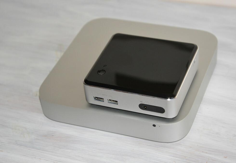 Mac mini blir diger i forhold til en NUC. Foto: Brynjulf Blix