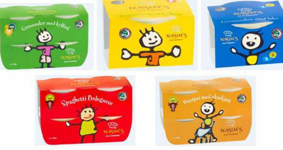 <b>Publisert på Matportalen 6. desember 2013:</b> Barnemat (middagsretter) til spedbarn trekkes fra markedet. Analyser utført av Mattilsynet viser for høyt innhold av plantevernmiddelrester i produktene. Tilbaketrekkingen gjelder alle produkter av Nasim&#8217;s halal barnemat fra Nasims AS som pr. i dag finnes i butikkene. Foto: MATTILSYNET