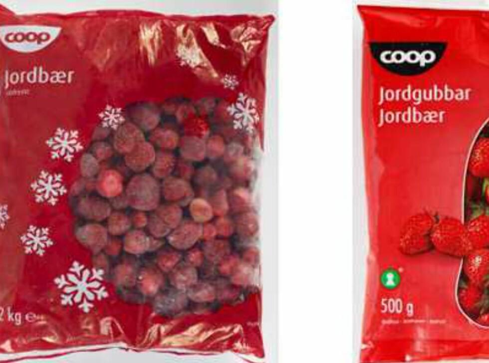 <b>Publisert hos Matportalen 30. mai 2013:</b> Coop Norge tilbakekaller fryste jordbær produsert av Dirafrost i Belgia fra det norske markedet. Grunnen til tilbakekallingen er mistanke om at jordbærene kan være årsak til det nordiske utbruddet med hepatitt A som har pågått siden oktober 2012. Foto: Mattilsynet