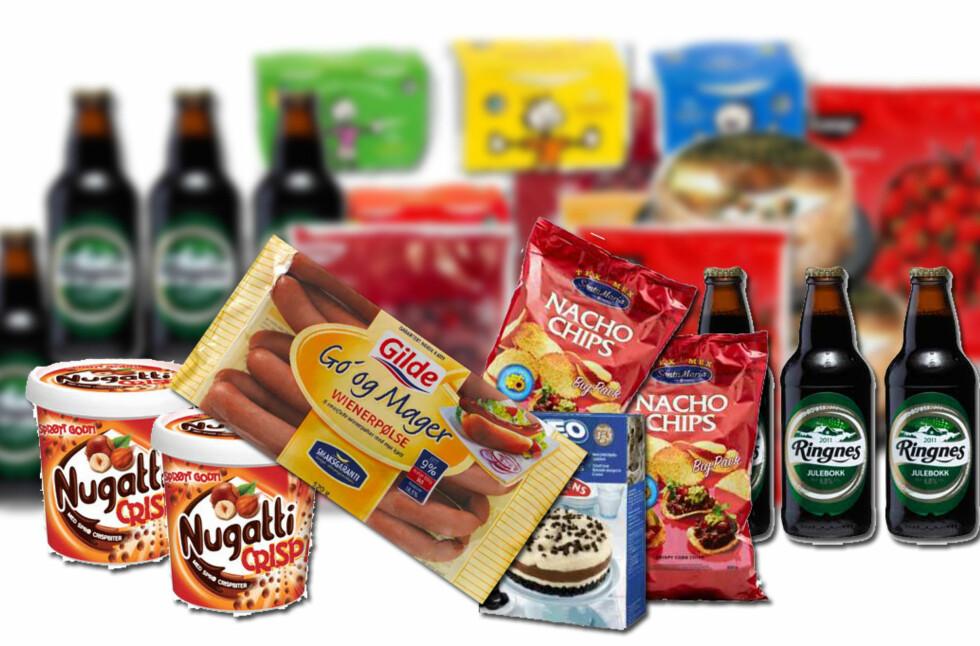 <strong><b>IKKE SPIS DETTE:</strong></b> Årlig tilbakekalles haugevis av matvarer fra det norske markedet, av ulike grunner. Det kan være innhold av smittestoffer, allergener, fremmedlegemer, eller rett og slett feilproduksjon. På bildet er eksempler på noen av de produktene som er trukket fra norske butikker så langt i 2014 og i 2013. Foto: KRISTIN SØRDAL/PRODUSENTENE/MATTILSYNET