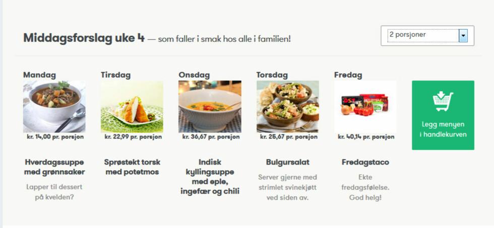 """Når du går inn på siden og skal bestille får du opp forslag til ukemeny. Du kan lett regulere antall personer i menyen oppe til høyre, og så legger du hele ukemenyen i handlekurven ved et enkelt klikk. Dessert- og serveringsforslag er i grått, dette blir ikke bestilt automatisk om du velger """"legg menyen i handlekurven"""".  Foto: Kolonial.no"""