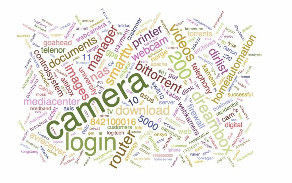 SØKER: Denne ordskyen viser hva de siste 60.000 søkene på Usikkert.no handlet om. Kameraer, filservere og strømstyring er tre av gruppene som går igjen.  Foto: USIKKERT.NO