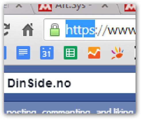 """<strong><b>SIKKERT:</strong> </b>Må du gjennom en kryptert innlogging ser du """"https"""" i nettadressen, og en hengelås i nettleseren.  Foto: OLE PETTER BAUGERØD STOKKE"""