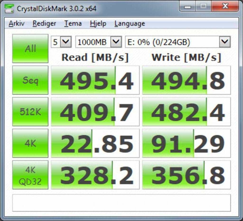 Måleresultater CrystalDiskMark