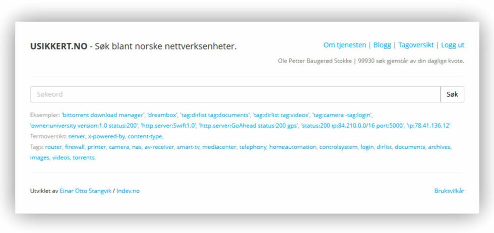 ENKEL Å BRUKE: Usikkert.no lar brukerne blant annet søke etter bestemte enheter, og for eksempel angi om de bare vil se dem som trolig ikke krever innlogging.