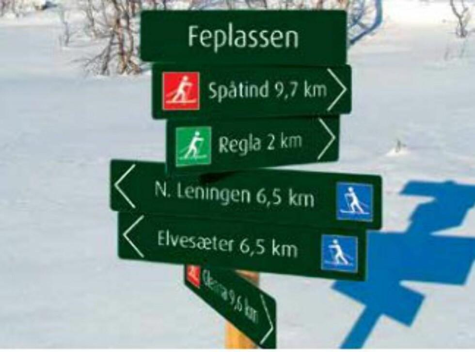 Eksempler på skilting med gradering. Foto: DNT/MERKEHÅNDBOKA
