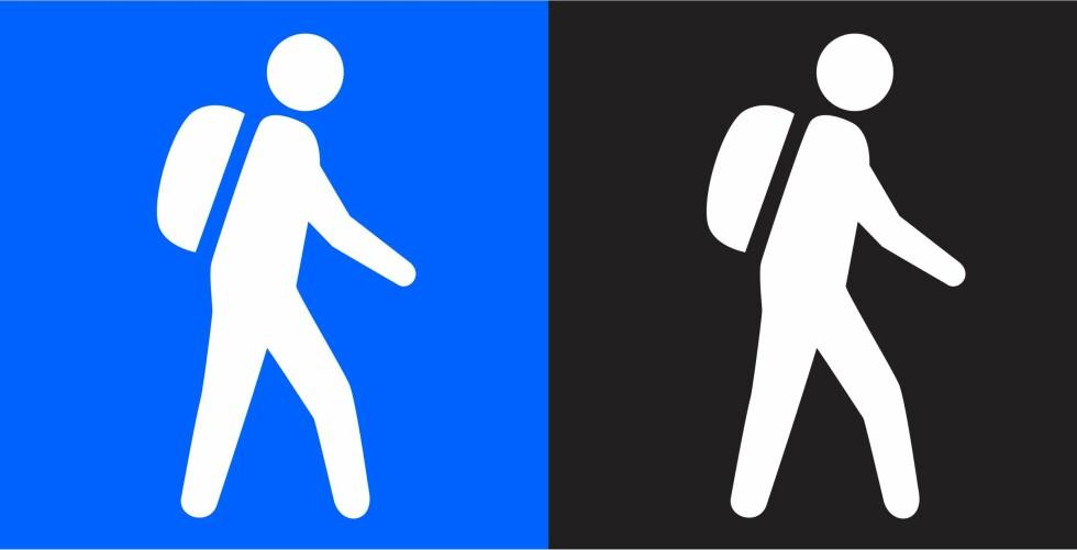 Den viktige forskjellen: Dette bør du legge merke til når du skal velge rute, det er ingen spøk å havne i for krevende terreng. For ordens skyld: Den blå er for nybegynneren, mens den sorte for eksperten. Foto: DNT/MERKEHÅNDBOKA
