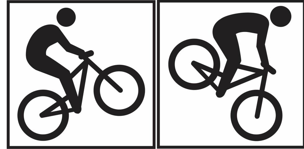 Legg også merke til denne forskjellen: Symbolet til venstre viser vei til terrengsykling, mens det til høyre viser vei til utforsykling. Foto: DNT/MERKEHÅNDBOKA