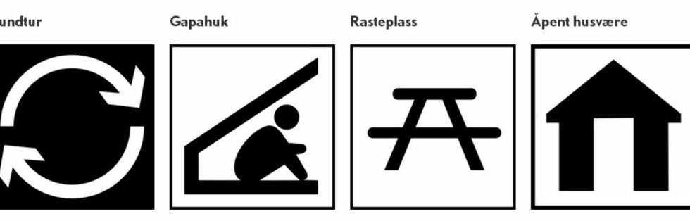 Dette er rene informasjonssymboler. Foto: DNT/MERKEHÅNDBOKA