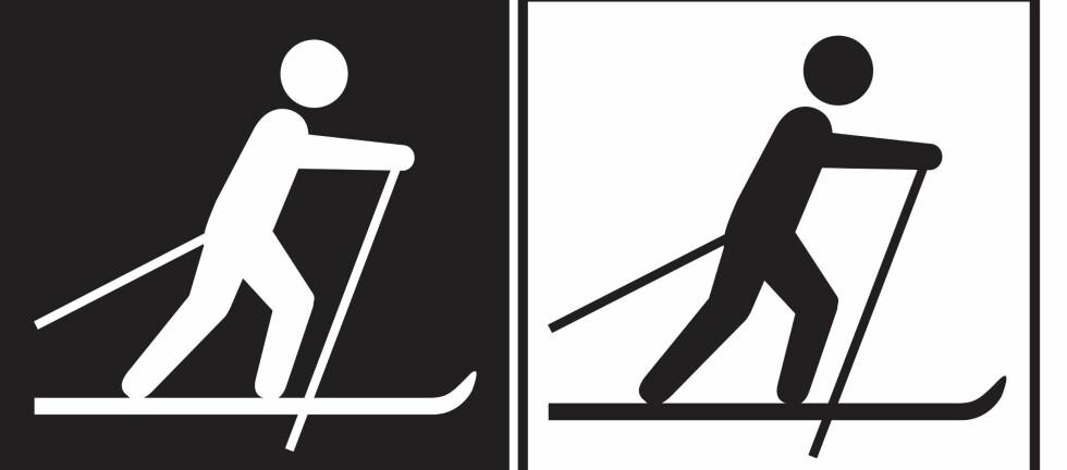 DEN VIKTIGE FORSKJELLEN: Symbolet til venstre viser merking av skiløype med graderingen SORT, altså med vanskelighetsgrad EKSPERT. Symbolet til høyre viser ganske enkelt til en skiløype som ikke er gradert, altså ikke kjent vanskelighetsgrad. Foto: DNT/MERKEHÅNDBOKA