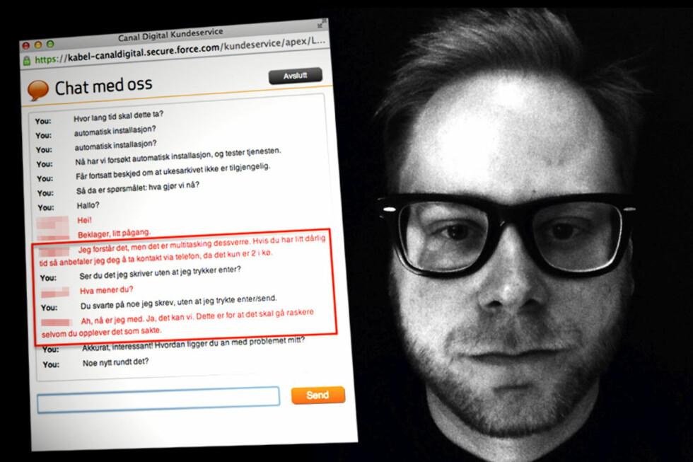 """""""TANKELEST"""": Canal Digital-kunden Tim Oudenstad stilte aldri spørsmålet han fikk svar på fra kundeservice.  Foto: TIM OUDENSTAD/OLE PETTER BAUGERØD STOKKE"""