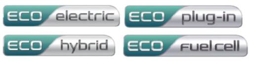 """NYE EMBLEMER:Kia innfører nå en slik merking for sine diverse """"Eco""""-biler, altså modeller med det vi fortsatt må kalle """"alternative drivstoff"""". Foto: Kia"""