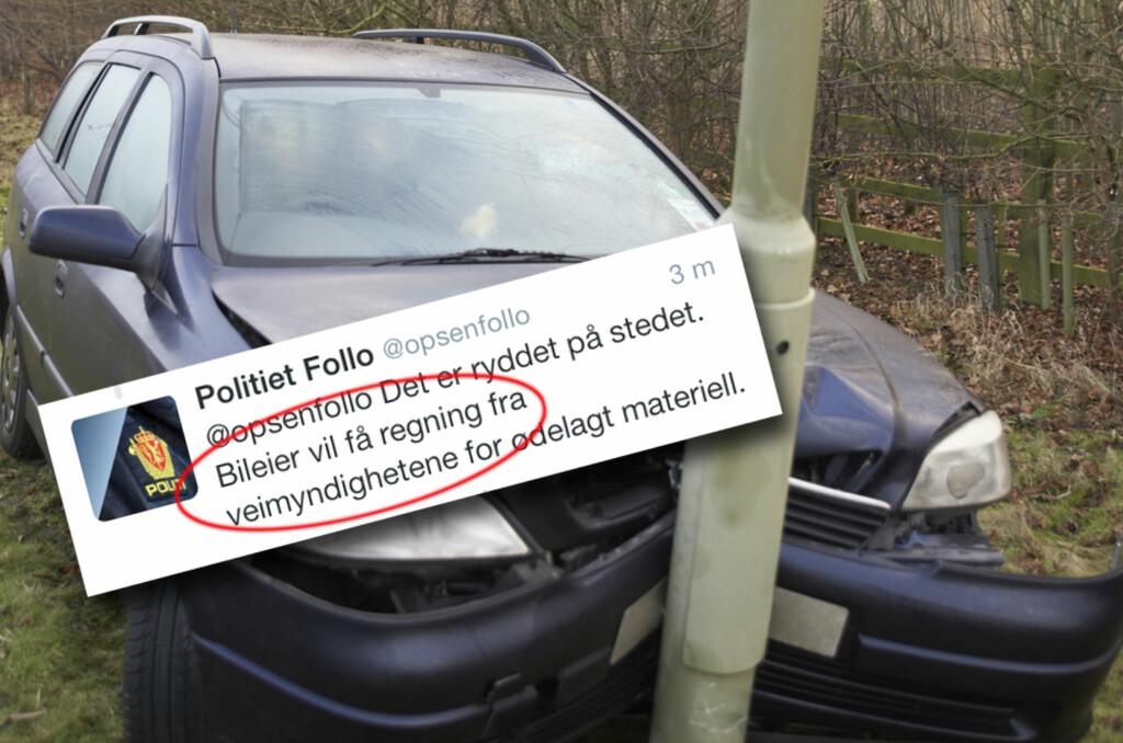 <b>REGNING KOMMER:</b> Uheldig? Du må betale for mer enn kun skadene på din egen bil. Det er også ditt ansvar å betale for ødeleggelser på vegvesenets materiell. Foto: PANTHERMEDIA/TWITTER/KRISTIN SØRDAL