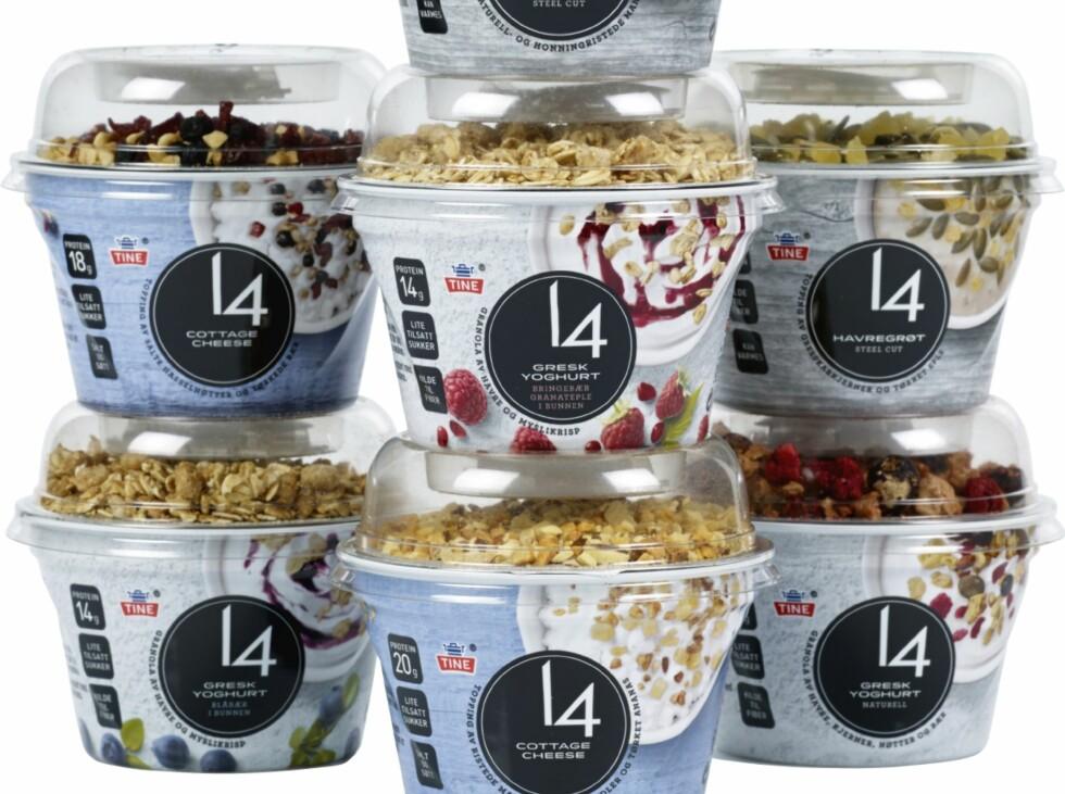Sesongens storsatsing fra Tine: Mellommåltidsserien 14 med cottage cheese, gresk yoghurt mm. Disse produktene er allerede ute i kiosken. Foto: TINE