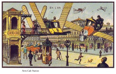 FREMTIDSVISJON: Slik ble den fjerne fremtiden (år 2000) fremstilt tidlig på 1900-tallet - her blir folk fraktet omkring i flyvende drosjer.