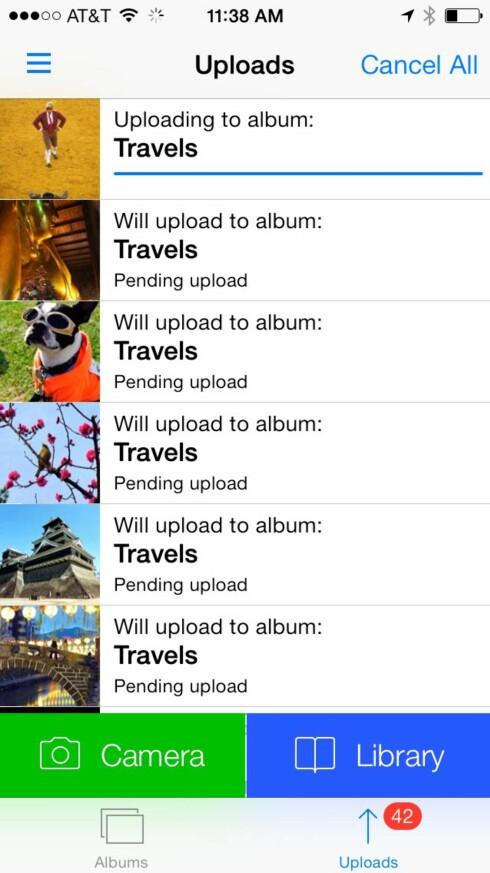 OPPLASTING: Du kan også laste opp bildene fra iPhone eller iPad til Dropbox-kontoen din fra selve Unbound-appen, både manuelt og automatisk. Foto: UNBOUND