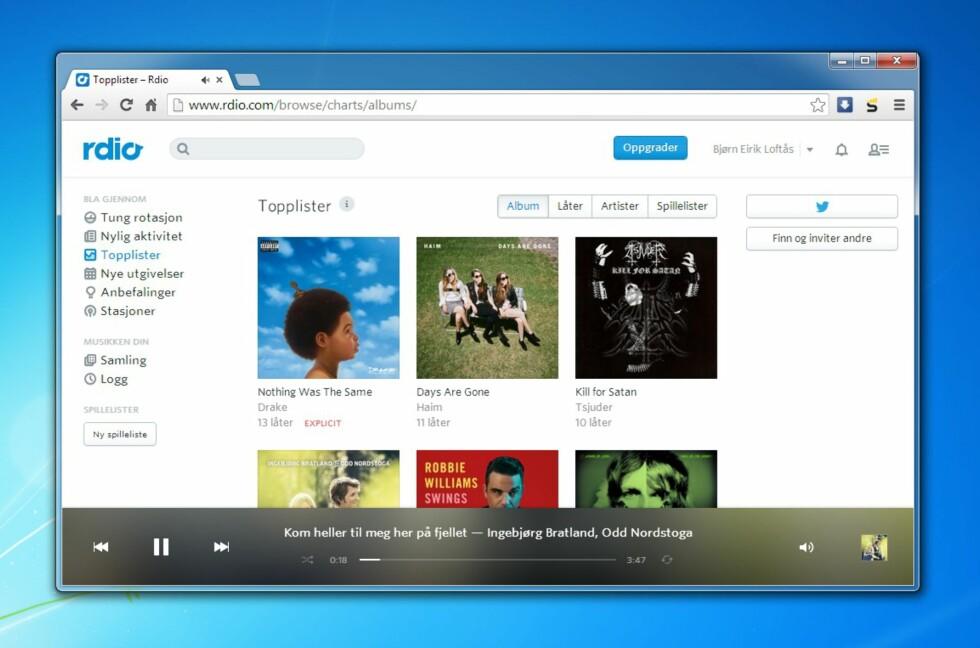 Rdio har et enkelt og oversiktlig grensesnitt, og har rundt 20 millioner spor i sitt bibliotek. Nå kan du streame musikken helt gratis.