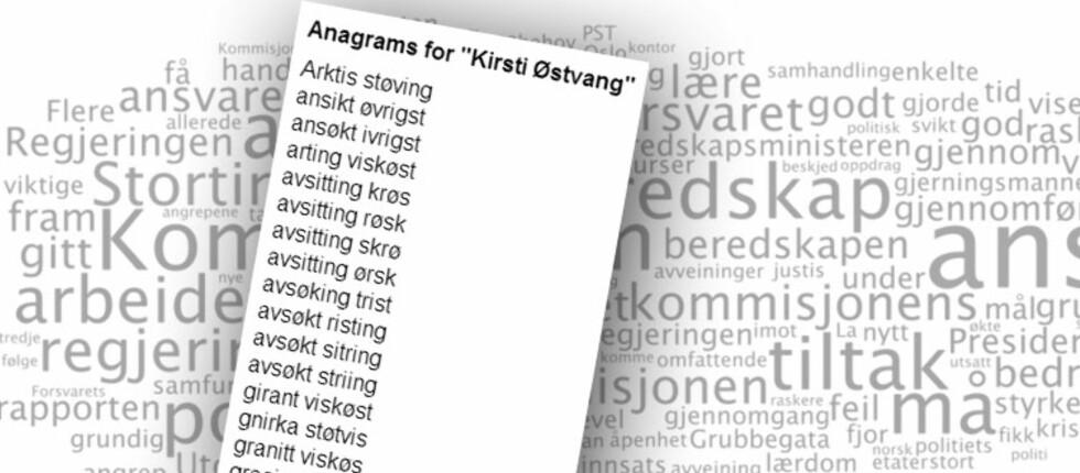 """Blant de beste anagrammene til kollega Kirsti Østvang finner vi """"Støtvis raking""""."""