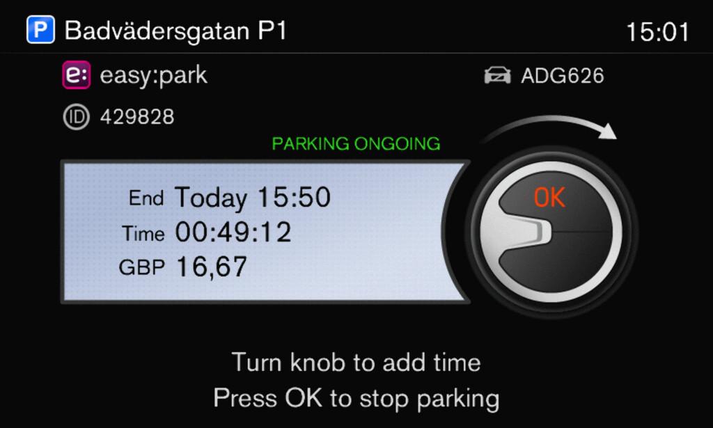 Brukergrensesnittet er enkelt og leses av på bilens skjerm. (Illustrasjon: Volvo)