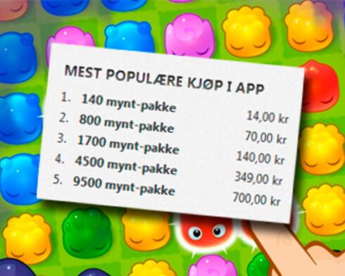 DYRE MYNTER: Jelly Splash er en av mange gratis-spill på App Store som har dyre tilleggsprodukter det er lett å la seg friste av. Foto: KIRSTI ØSTVANG