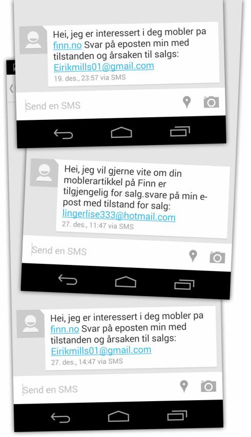 MYE SVINDEL: Slik SMS-innboksen ut etter at vi la ut en annonse på Finn.no.  Foto: Ole Petter Baugerød Stokke