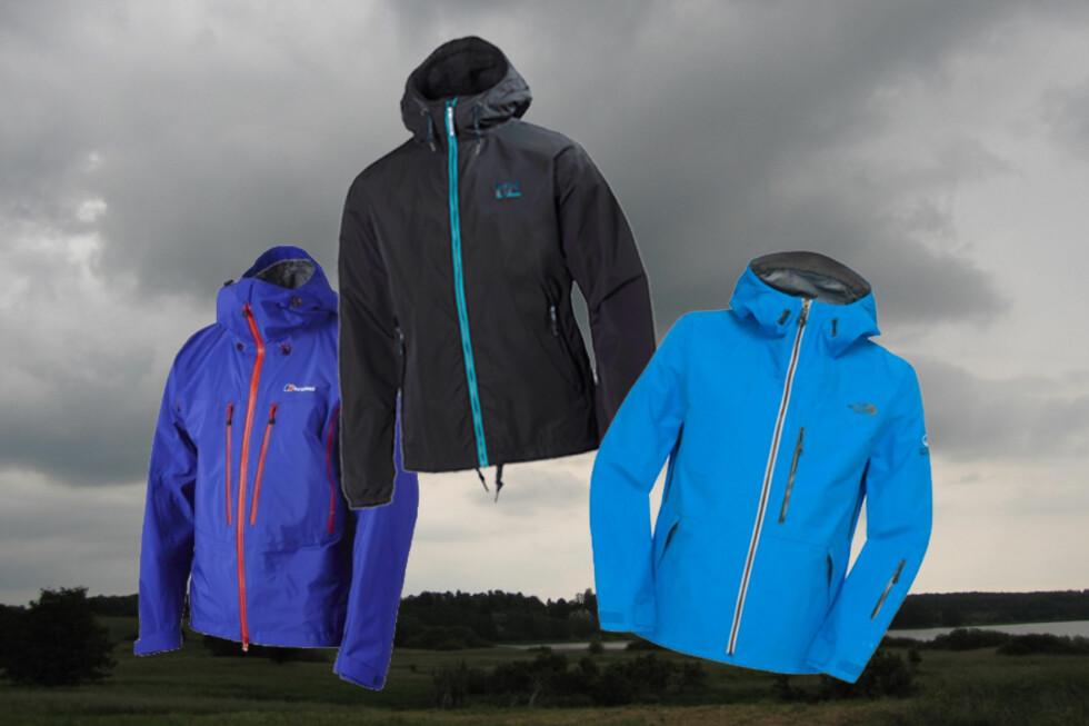 Ikke alle allværsjakker er like gode i vått vær, ifølge en undersøkelse fra Which?. De tre merkene på bildet er blant topp ti i den britiske undersøkelsen. Foto: Colourbox.com/produsentene