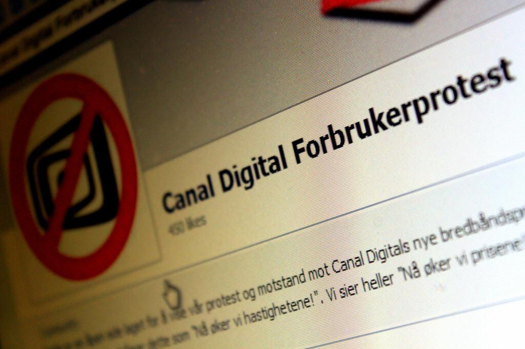 PROTEST: Facebook-siden Canal Digital Forbrukerprotest manet til kamp mot Canal Digitals nye prisstruktur. Men bare de i bindingstid får beholde både hastighet og pris.  Foto: Ole Petter Baugerød Stokke