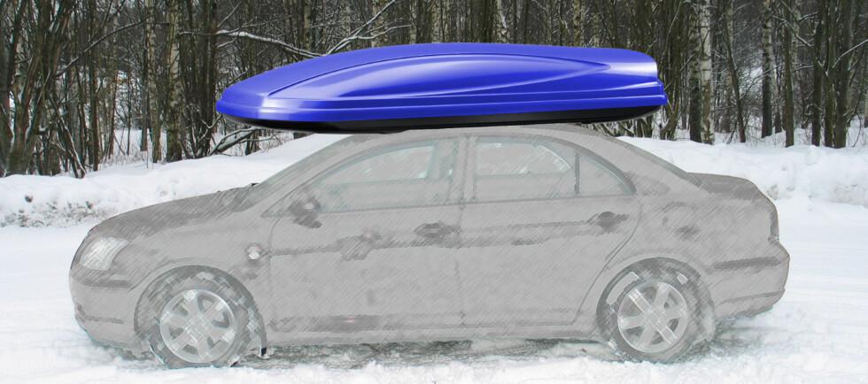 Mange kjører med skiboksen på taket permanent. Det kan bli dyrt i lengden.  Foto: Per Ervland