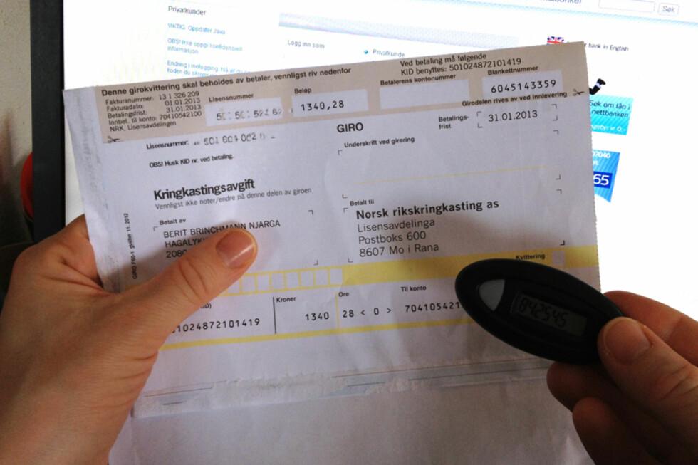 Å vente med betaling av NRK-lisensen kan i verste fall føre til at du blir trukket i lønn for å dekke kravet. Foto: BERIT B. NJARGA