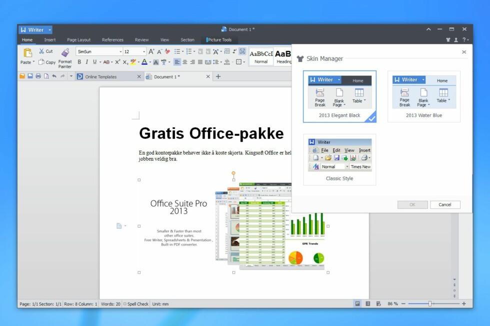 Kingsoft Office 2013 Free har  et grensesnitt som minner om nyere Microsoft Office-utgaver, men du kan fortsatt svitsje tilbake til klassisk utseende fra eldre versjoner hvis du likte det bedre.