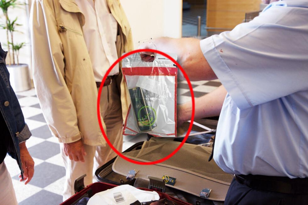 FEIL POSE: Det er ditt ansvar å sørge for at taxfreevarene handler i riktig pose. Forseglingsposen på bildet er en godkjent type som ville passert i sikkerhetskontrollen.(Illustrasjonen er en fotomontasje.)  Foto: Colourbox/Debatin/Kristin Sørdal