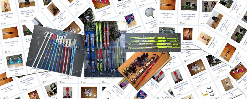 <strong><b>KJØP BRUKT I STEDET FOR Å LEIE:</strong></b> Det flommer over av brukt skiutstyr på Finn.no. Sjekk også lokale Facebookgrupper for kjøp og salg, og sesongsalgene hos lokale idrettsklubber. Foto: Finn.no/Kristin Sørdal