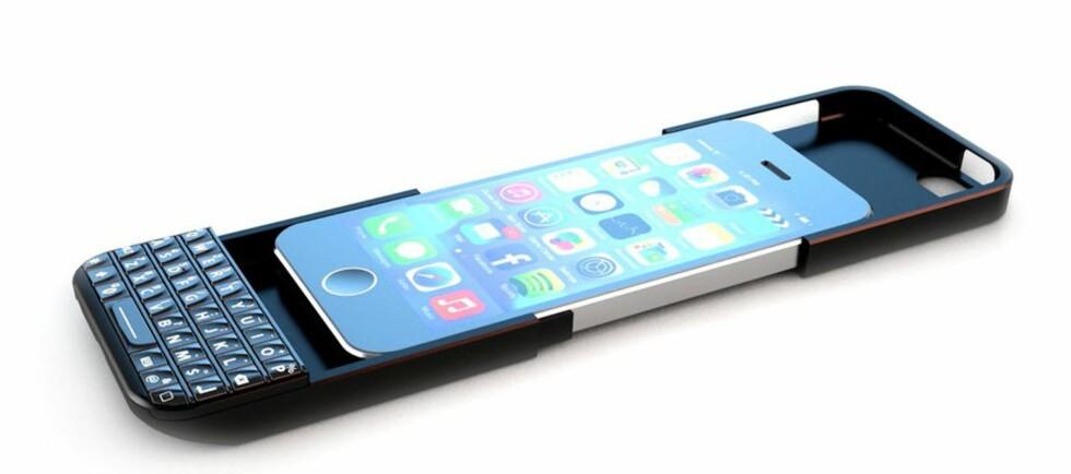 Legg iPhone oppi, og skyv igjen. Vips, du har fått en BlackPhone, eller noe sånt. Foto: Typokeyboards.com
