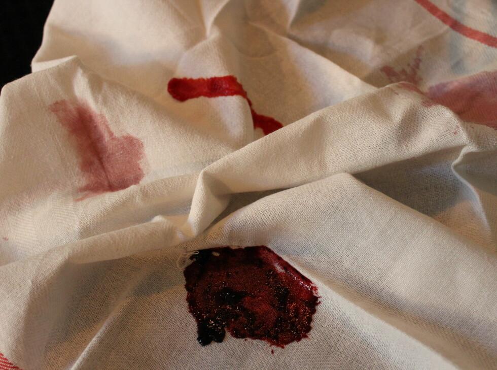 Ny og gammel rødvin, tomatpuré og blåbærsyltetøy ble behørig klint inn på to splitter nye kjøkkenhåndklær. Foto: Elisabeth Dalseg