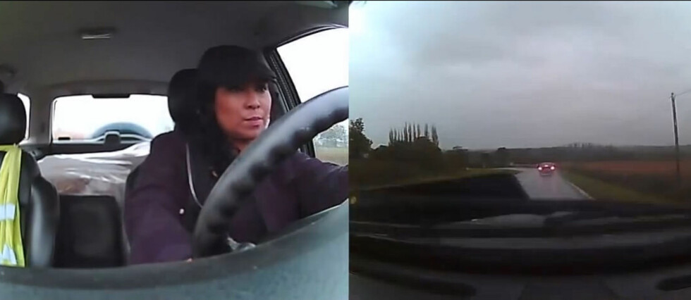 Her er kvinnen i ferd med å miste kontrollen over bilen. Det er da det gjelder å ha stålkontroll... Foto: YoyTube