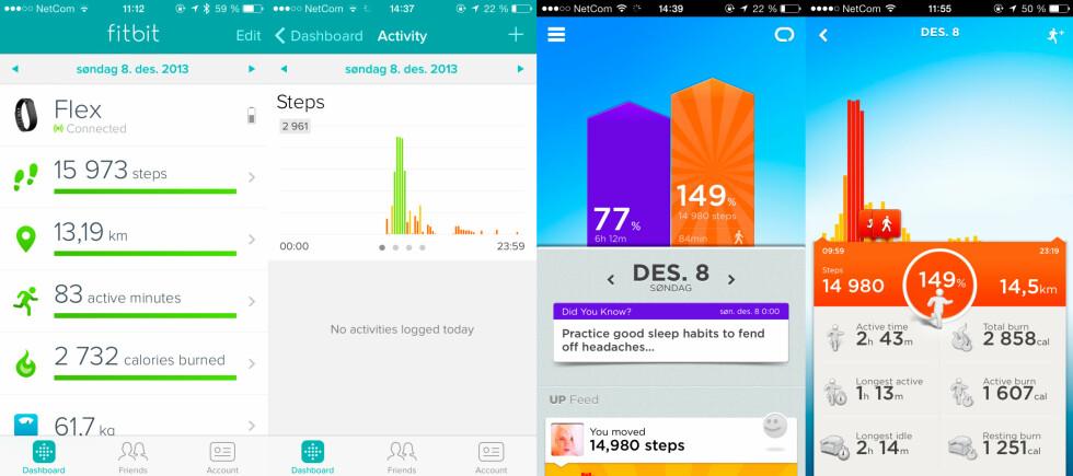 FLEX VS UP #2: Slik ser de respektive appene ut. Fitbit-appen er pen og ryddig, men Jawbone-appen har mer å fordype seg i. Foto: KIRSTI ØSTVANG