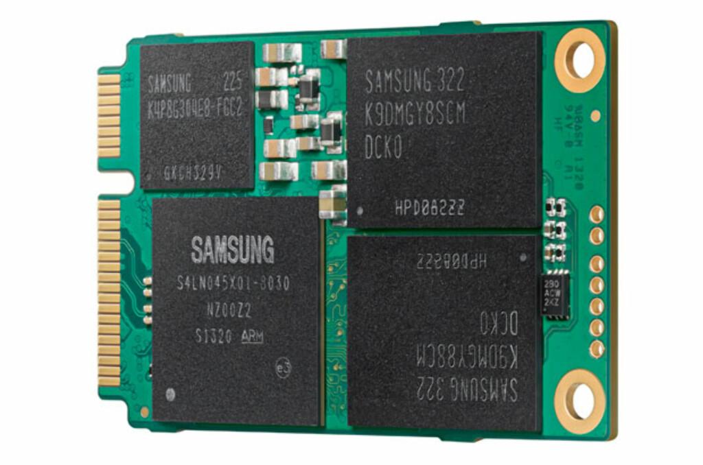 Slik ser den ut, den bittelille SSD-en fra Samsung med hele 1000 GB kapasitet. Foto: Samsung