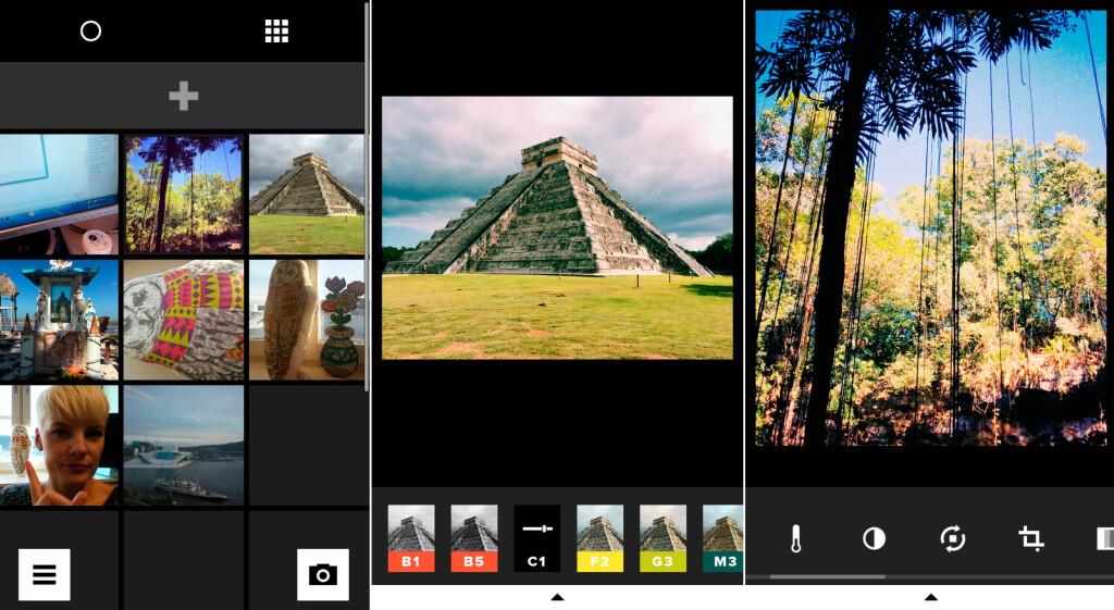 BRUKERGRENSESNITTET: Fra venstre ser du skjermbilder av biblioteket, så et bilde med filtervalg og til slutt et bilde med redigeringsverktøyene. Foto: KIRSTI ØSTVANG