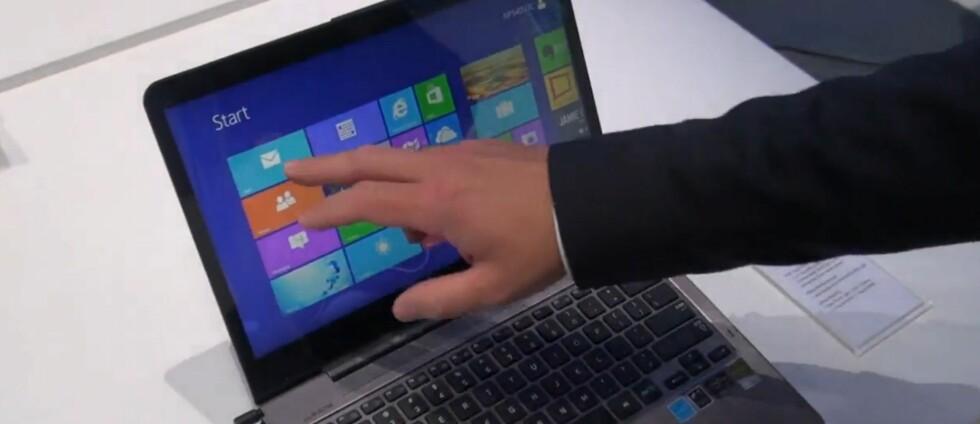 """Windows 8 kommer med store """"fliser"""" som er enkle å treffe med fingertuppene. Men er det slik vi ønsker å jobbe på en PC? Foreløpig er ikke interessen så stor som Microsoft og PC-produsentene hadde håpet. Foto: DinSide.no"""
