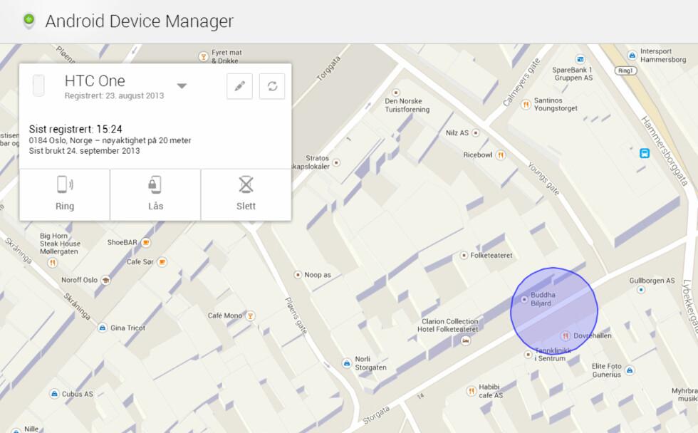 SPOR VIA WEB: Slik ser brukergrensesnittet til Android Device Manager ut i nettleseren.  Foto: KIRSTI ØSTVANG