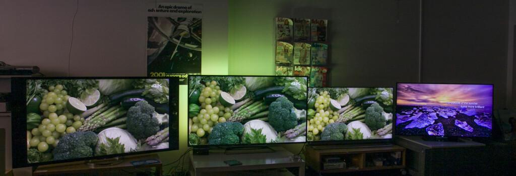 Sony til venstre, deretter følger: Philips, LG og Samsung. Foto: PER ERVLAND / DINSIDE