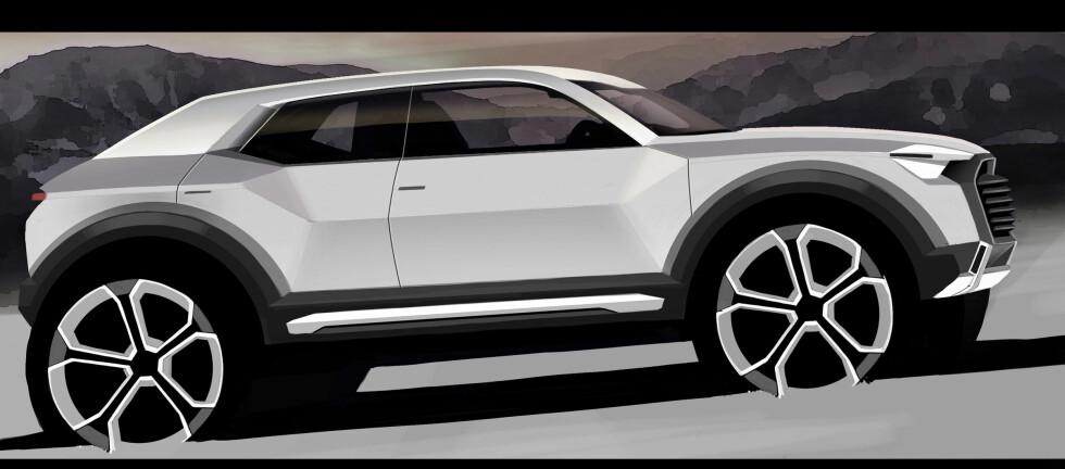 Denne illustrasjonen fra Audi forteller hvordan både den nye Q1 og den nye A1 vi bli - i 2016.  Foto: Audi