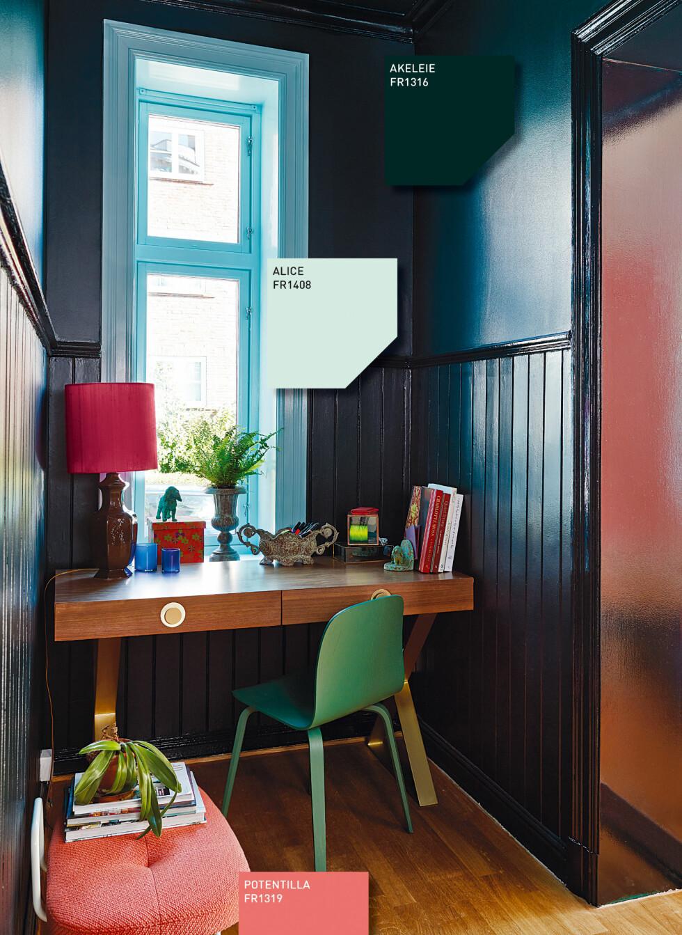 Helt mørkeblågrønt gir en dramatisk effekt, men kan man ikke like så godt bruke svart? – Forskjellen ligger i opplevelsen. Et rom som er malt i denne mørke blågrønne nyansen kan se sort ut, men man vil få en helt annen opplevelse i et rom med blågrønne toner i det svarte, sier Dagny Thurmann-Hoelseth. Foto: Fargerike