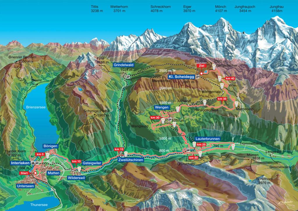 EKSTREM: Jungfrau er en blanding av fjellklatring og maraton.  Foto: Jungfrau-marathon.ch